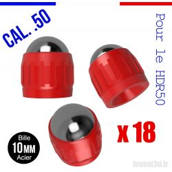 18 billes embout Acier 10mm Cal.50 pour HDR50 T4E Umarex - Rouge