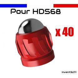40 slugs billes 12mm acier Calibre .68 pour HDS68 T4E Umarex - Rouge